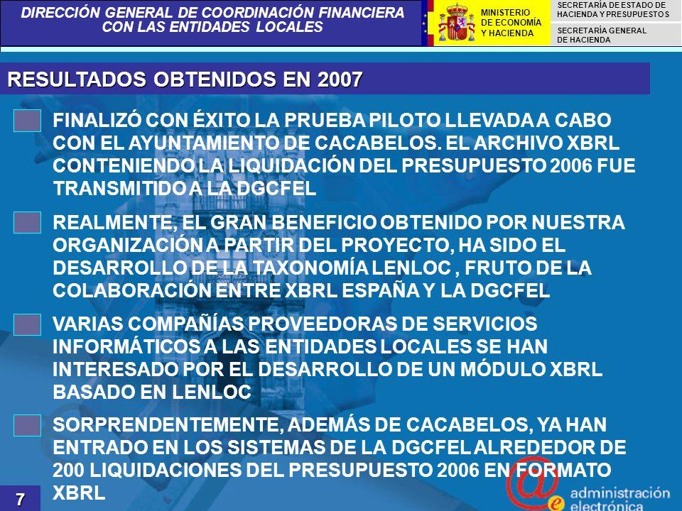 RESULTADOS OBTENIDOS EN 2007
