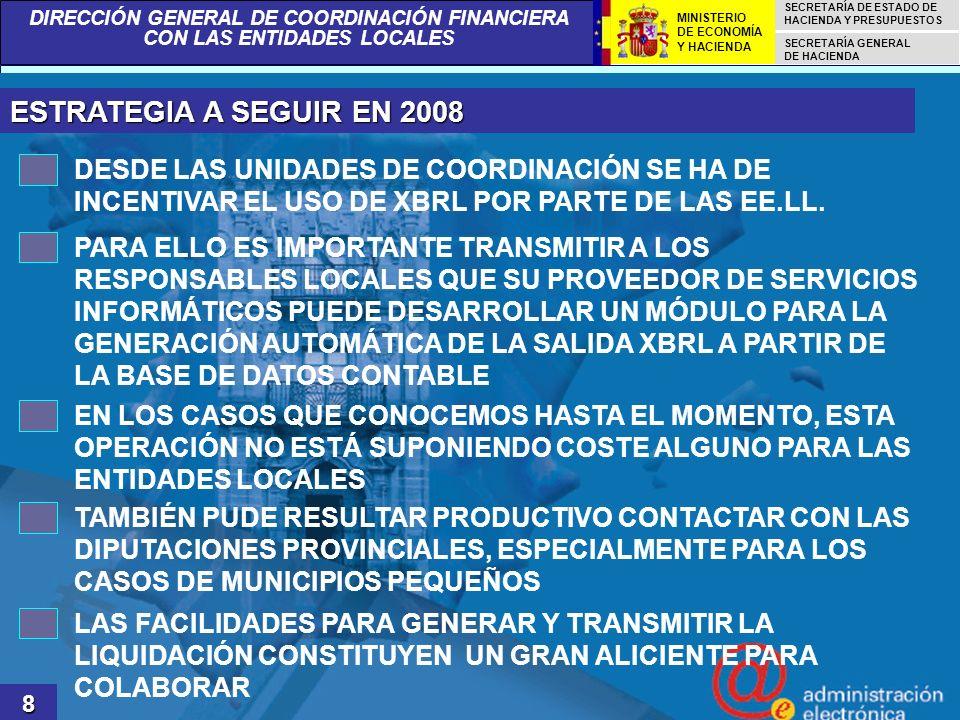 ESTRATEGIA A SEGUIR EN 2008 DESDE LAS UNIDADES DE COORDINACIÓN SE HA DE INCENTIVAR EL USO DE XBRL POR PARTE DE LAS EE.LL.