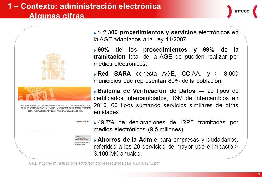 1 – Contexto: administración electrónica Algunas cifras