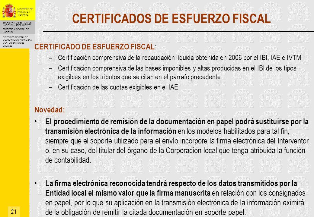 CERTIFICADOS DE ESFUERZO FISCAL