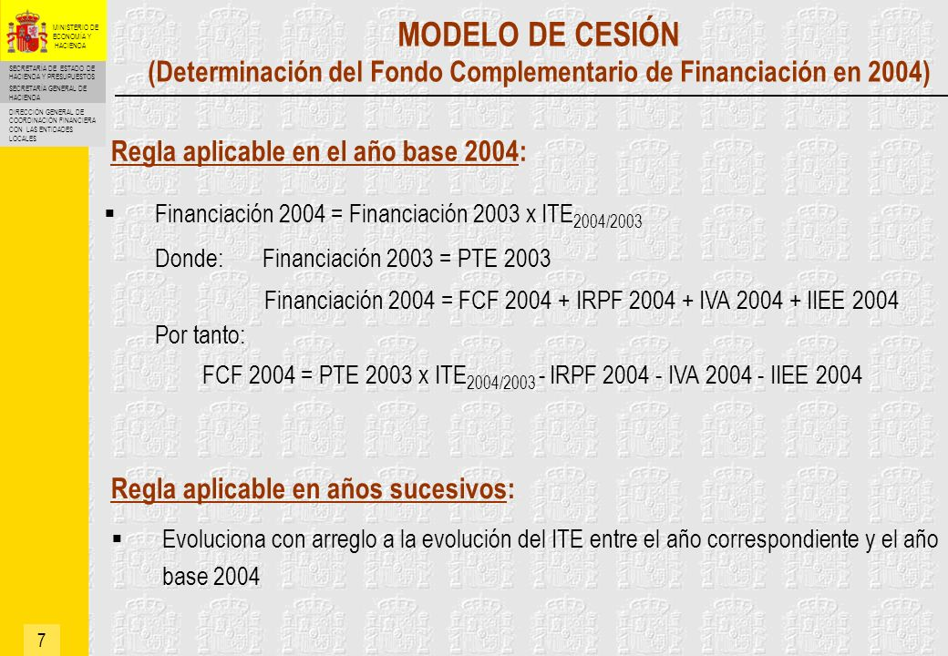 FCF 2004 = PTE 2003 x ITE2004/2003 - IRPF 2004 - IVA 2004 - IIEE 2004