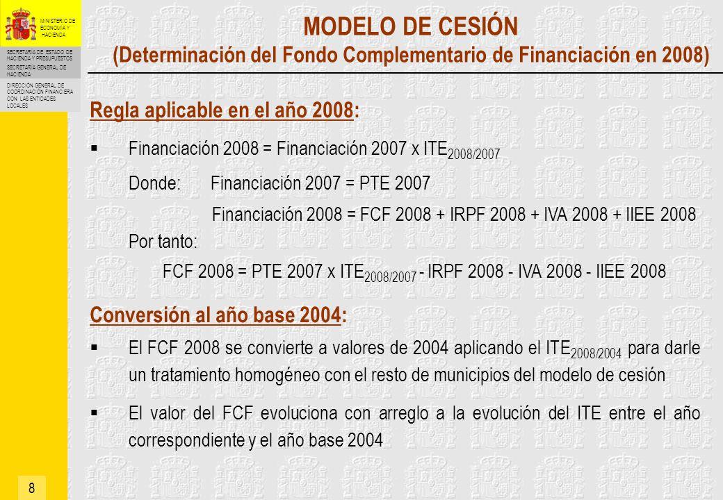 FCF 2008 = PTE 2007 x ITE2008/2007 - IRPF 2008 - IVA 2008 - IIEE 2008