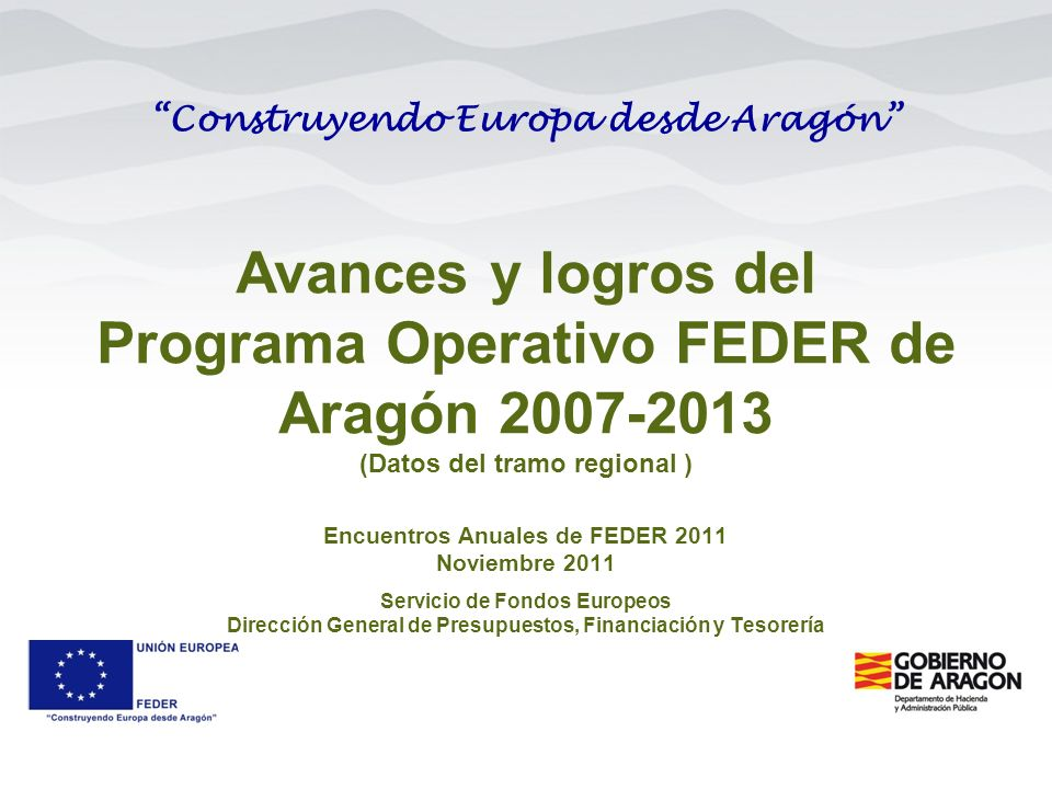 Avances y logros del Programa Operativo FEDER de Aragón 2007-2013