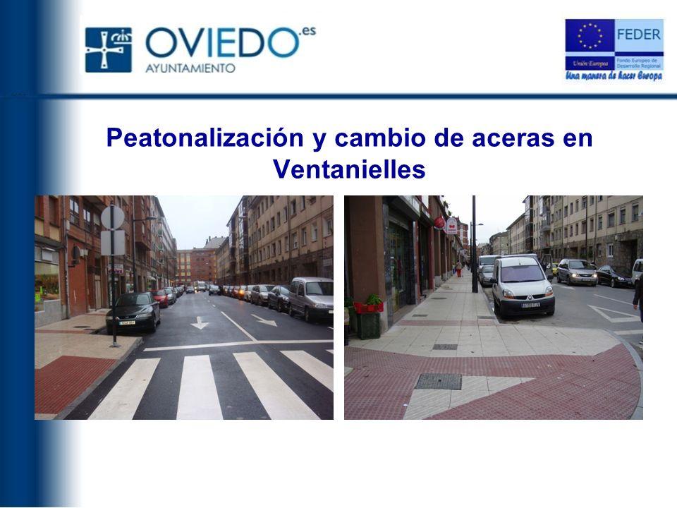 Peatonalización y cambio de aceras en Ventanielles