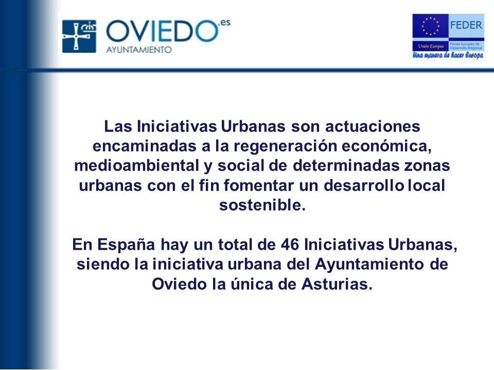 Las Iniciativas Urbanas son actuaciones encaminadas a la regeneración económica, medioambiental y social de determinadas zonas urbanas con el fin fomentar un desarrollo local sostenible.