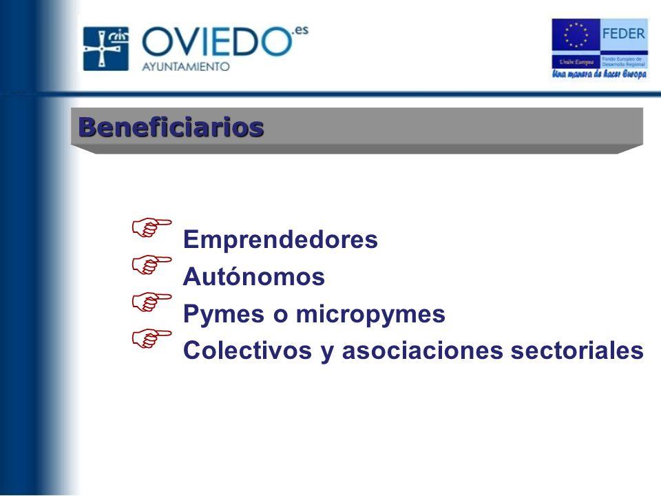 Beneficiarios Emprendedores Autónomos Pymes o micropymes Colectivos y asociaciones sectoriales