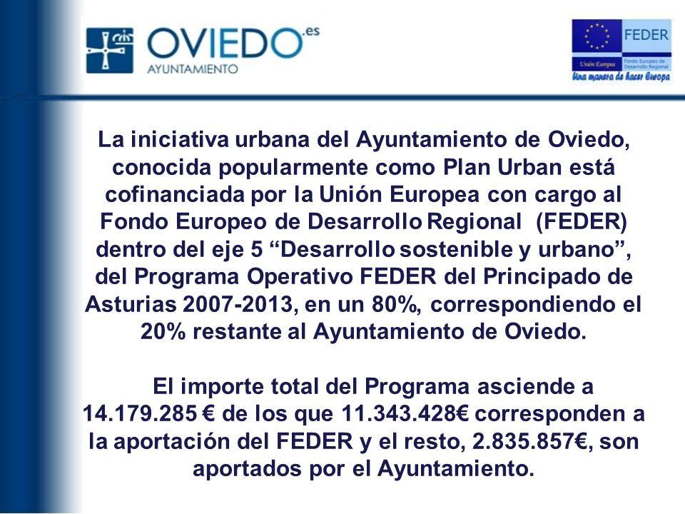 La iniciativa urbana del Ayuntamiento de Oviedo, conocida popularmente como Plan Urban está cofinanciada por la Unión Europea con cargo al Fondo Europeo de Desarrollo Regional (FEDER) dentro del eje 5 Desarrollo sostenible y urbano , del Programa Operativo FEDER del Principado de Asturias 2007-2013, en un 80%, correspondiendo el 20% restante al Ayuntamiento de Oviedo.