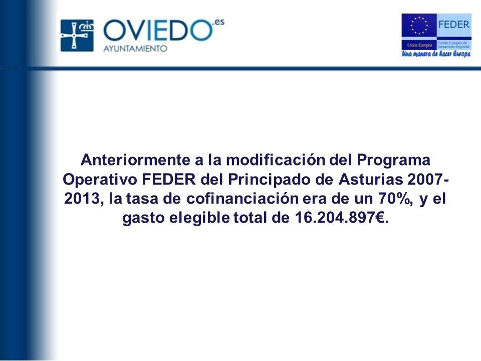 Anteriormente a la modificación del Programa Operativo FEDER del Principado de Asturias 2007-2013, la tasa de cofinanciación era de un 70%, y el gasto elegible total de 16.204.897€.