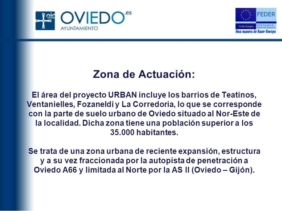 Zona de Actuación: El área del proyecto URBAN incluye los barrios de Teatinos, Ventanielles, Fozaneldi y La Corredoria, lo que se corresponde con la parte de suelo urbano de Oviedo situado al Nor-Este de la localidad.