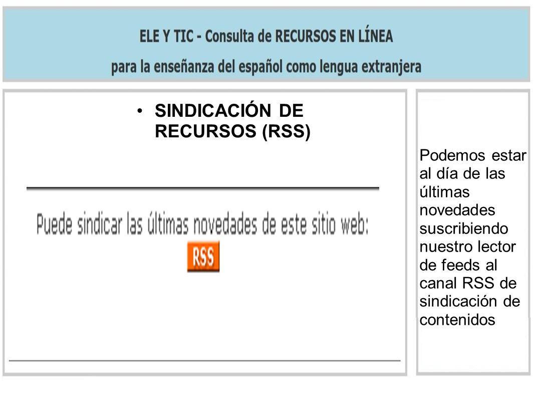 SINDICACIÓN DE RECURSOS (RSS)