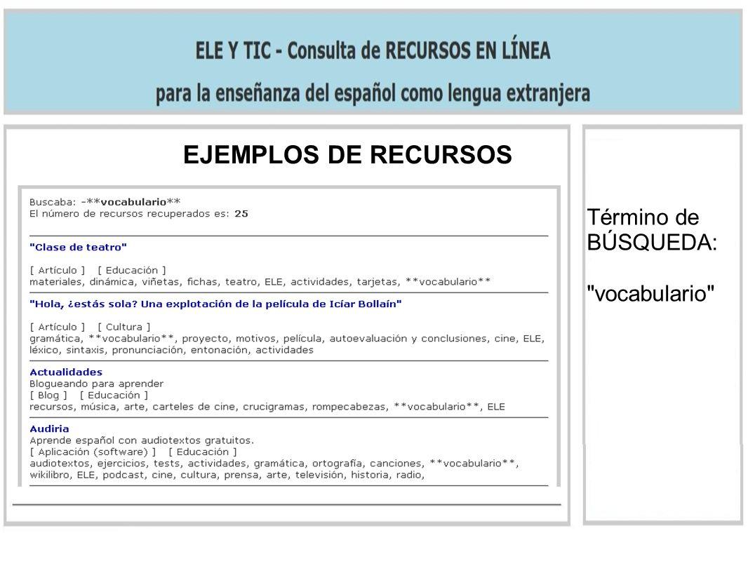 Término de BÚSQUEDA: vocabulario EJEMPLOS DE RECURSOS