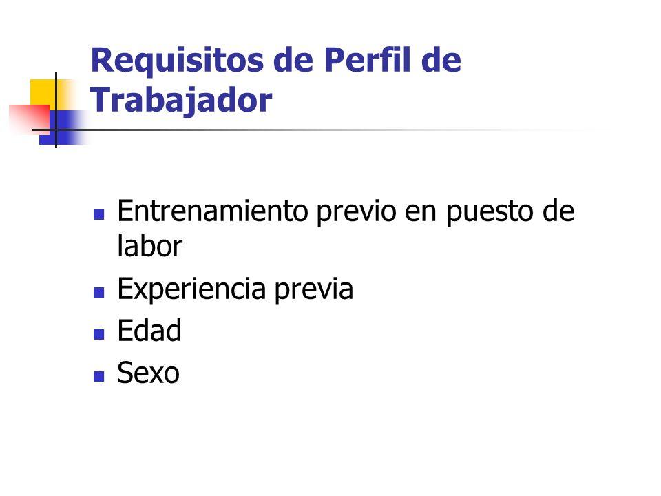 Requisitos de Perfil de Trabajador