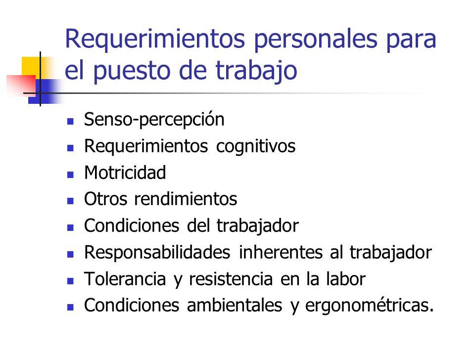 Requerimientos personales para el puesto de trabajo