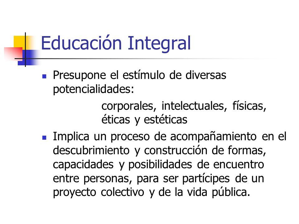 Educación Integral Presupone el estímulo de diversas potencialidades:
