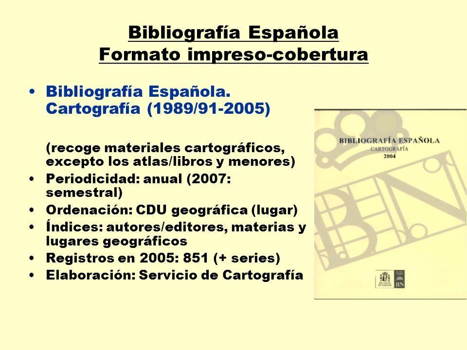Bibliografía Española Formato impreso-cobertura