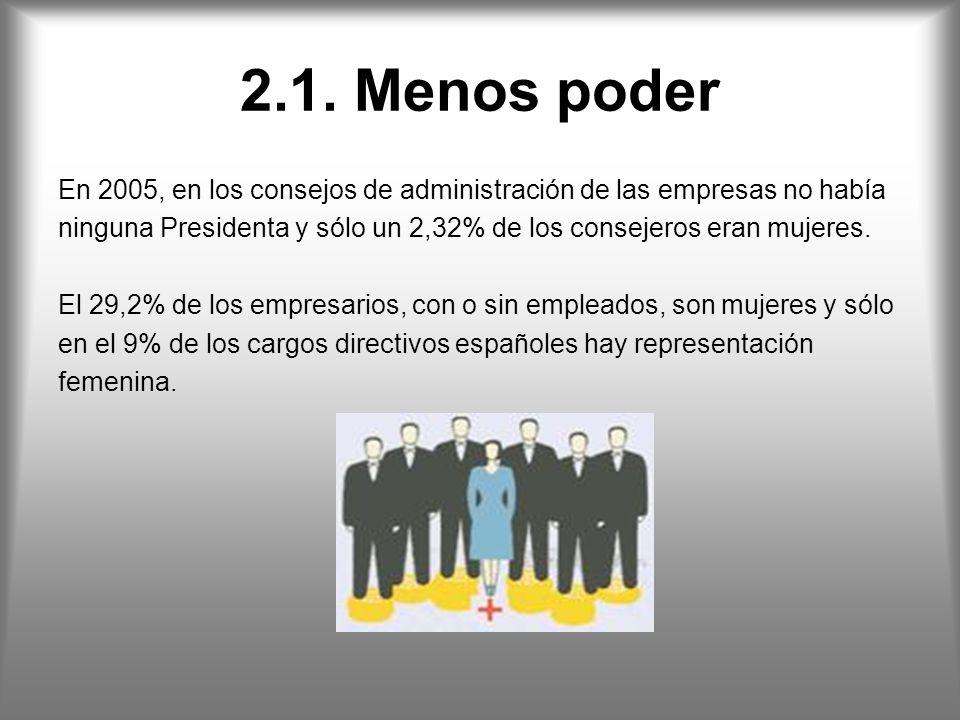 2.1. Menos poder En 2005, en los consejos de administración de las empresas no había.