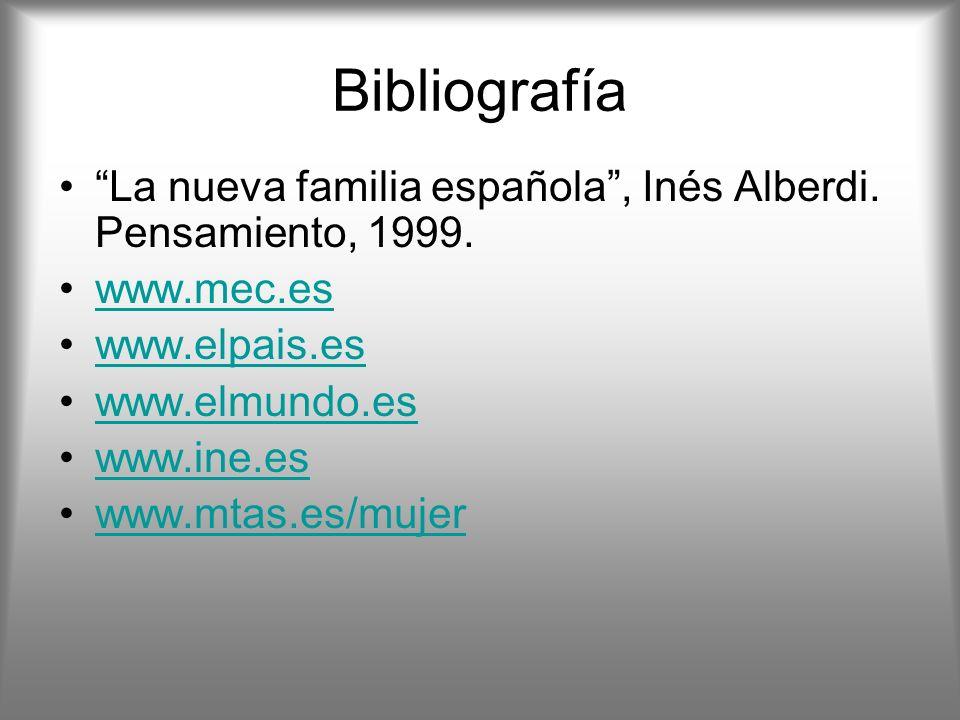 Bibliografía La nueva familia española , Inés Alberdi. Pensamiento, 1999. www.mec.es. www.elpais.es.