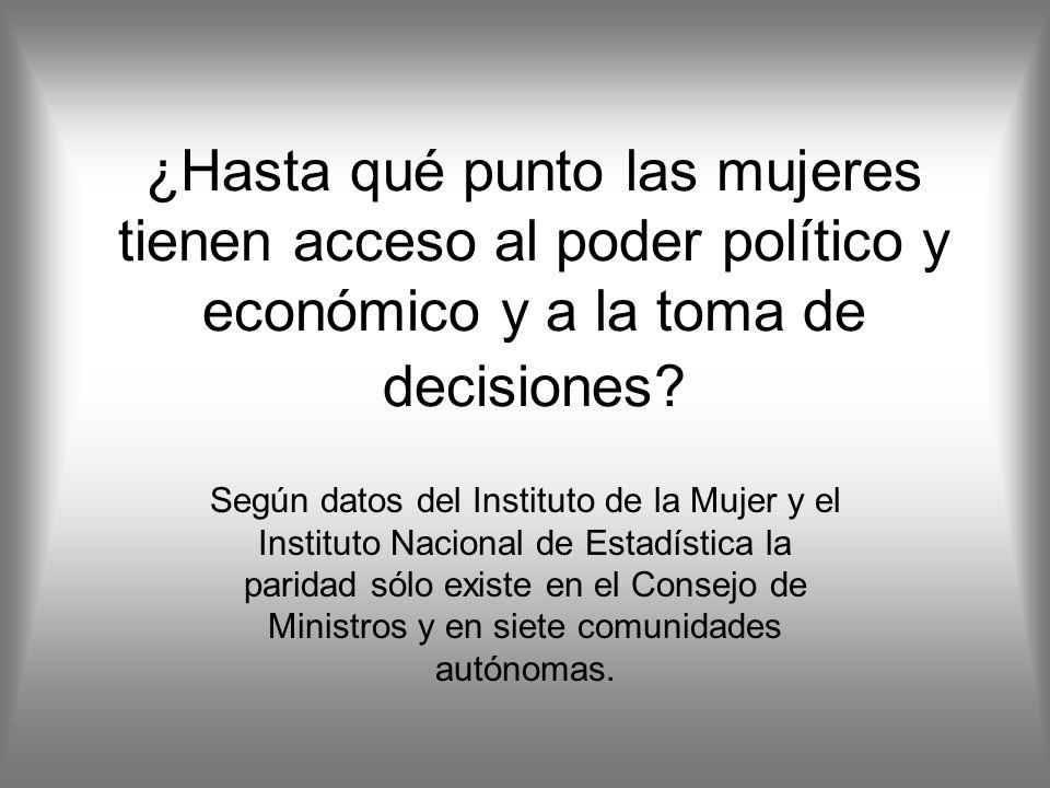 ¿Hasta qué punto las mujeres tienen acceso al poder político y económico y a la toma de decisiones