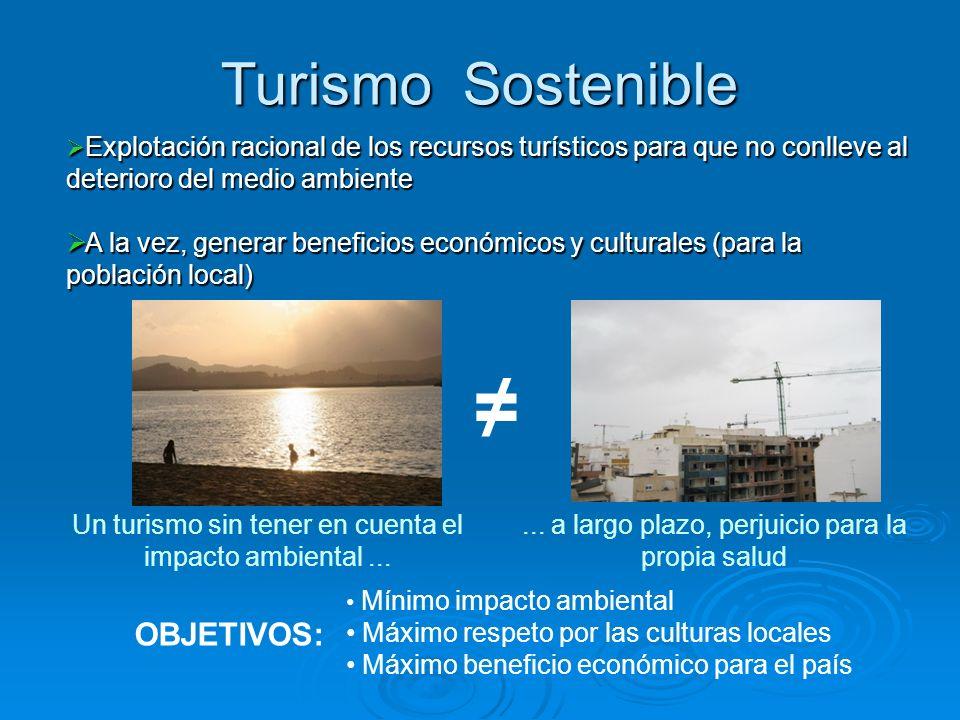 ≠ Turismo Sostenible OBJETIVOS: