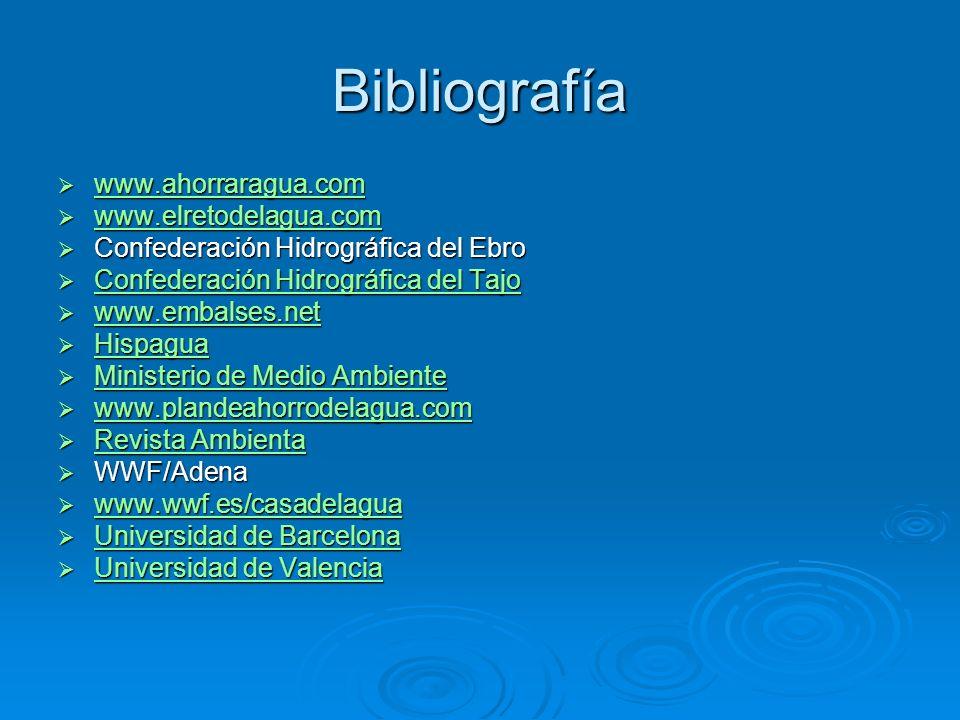 Bibliografía www.ahorraragua.com www.elretodelagua.com