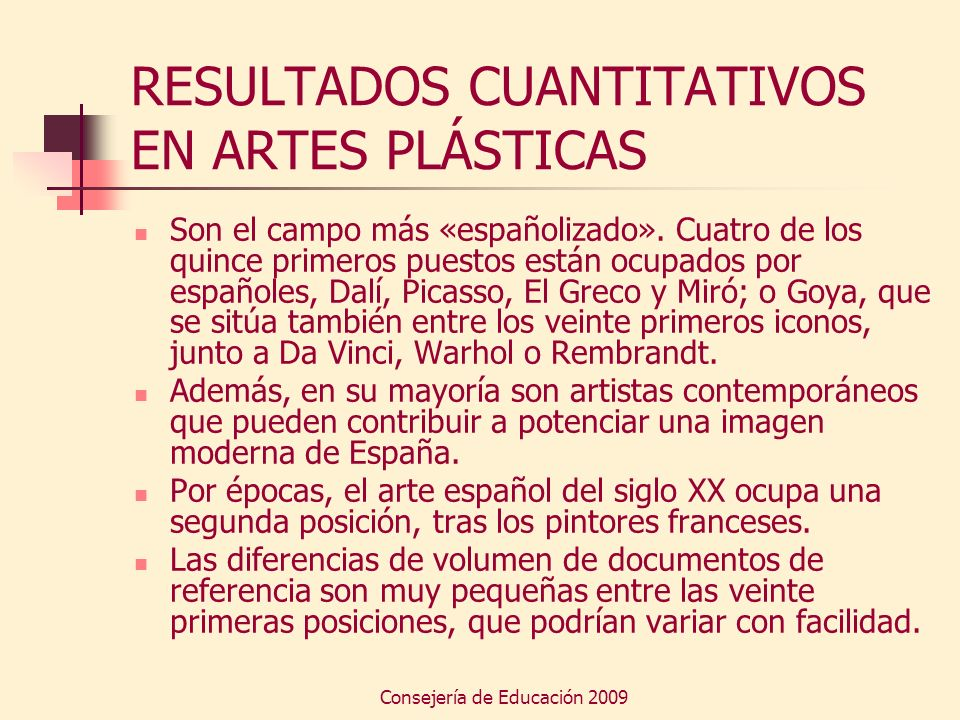 RESULTADOS CUANTITATIVOS EN ARTES PLÁSTICAS