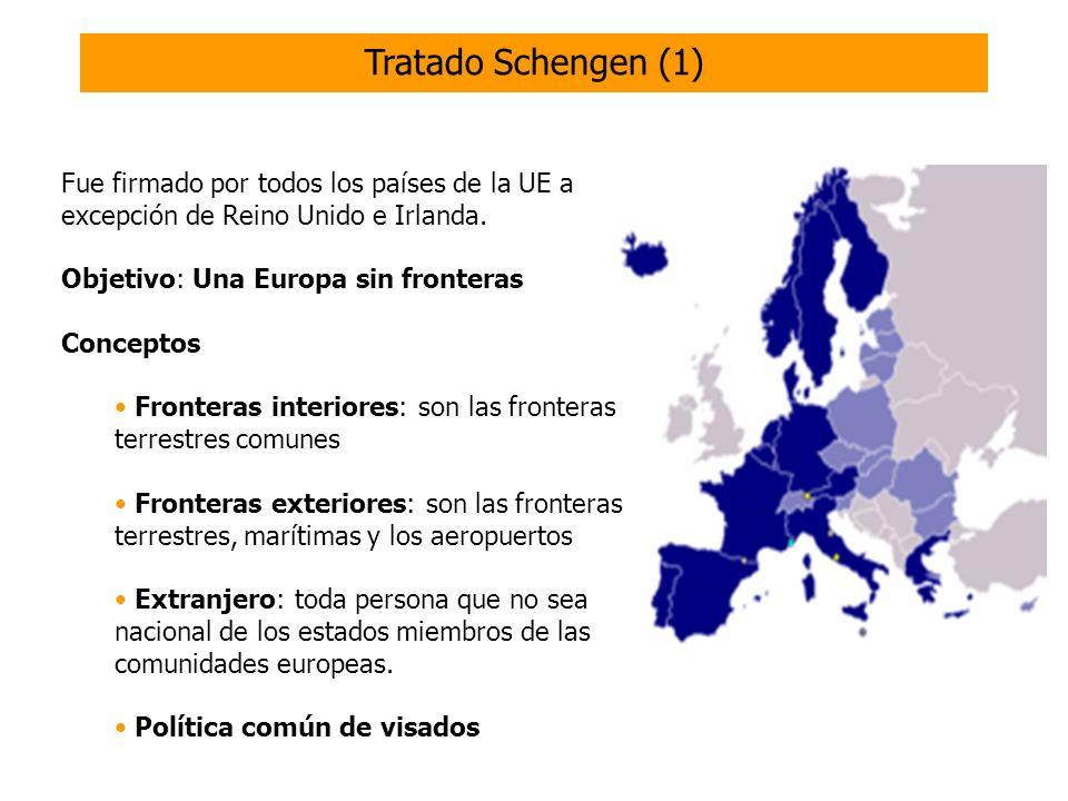 Tratado Schengen (1) Fue firmado por todos los países de la UE a excepción de Reino Unido e Irlanda.