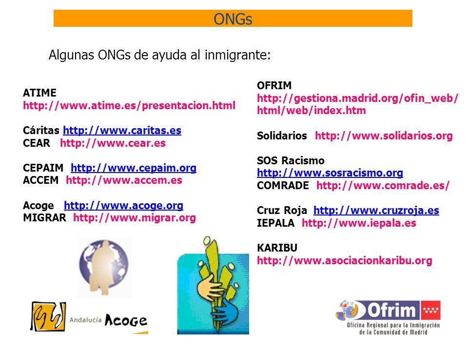 ONGs Algunas ONGs de ayuda al inmigrante: