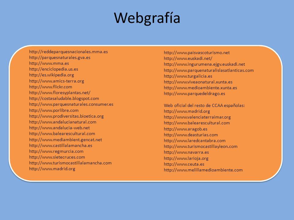 Webgrafía http://reddeparquesnacionales.mma.es