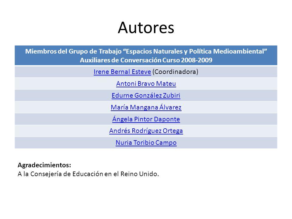 Autores Miembros del Grupo de Trabajo Espacios Naturales y Política Medioambiental Auxiliares de Conversación Curso 2008-2009.