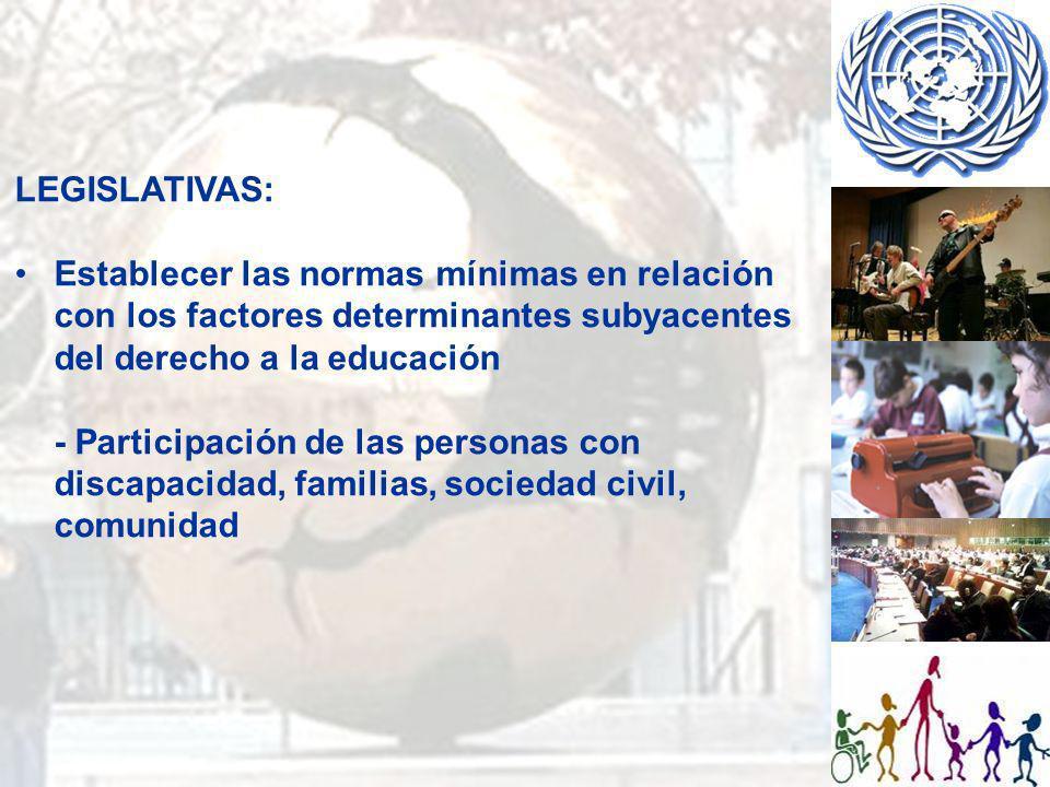 LEGISLATIVAS: Establecer las normas mínimas en relación con los factores determinantes subyacentes del derecho a la educación.