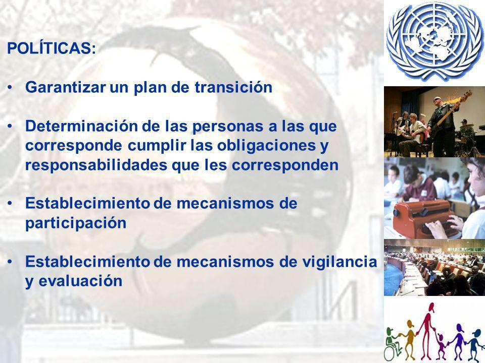 POLÍTICAS: Garantizar un plan de transición.