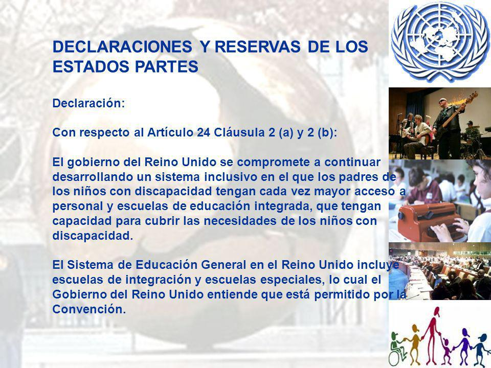 DECLARACIONES Y RESERVAS DE LOS ESTADOS PARTES