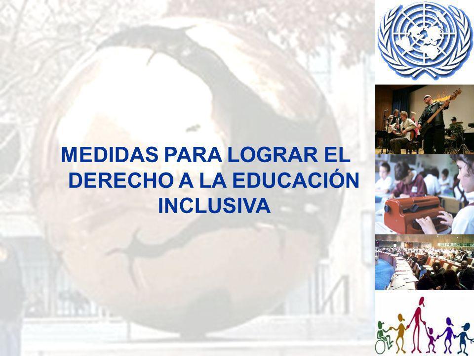 MEDIDAS PARA LOGRAR EL DERECHO A LA EDUCACIÓN INCLUSIVA