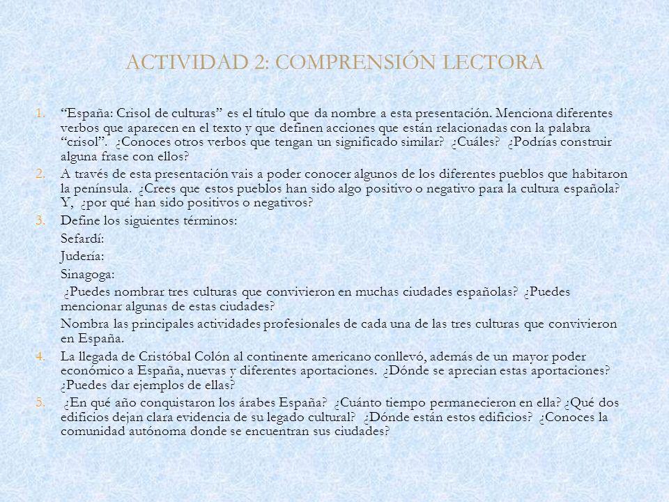 ACTIVIDAD 2: COMPRENSIÓN LECTORA