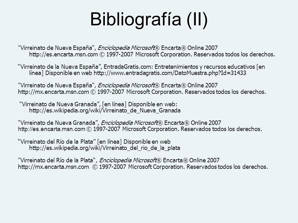 Bibliografía (II)