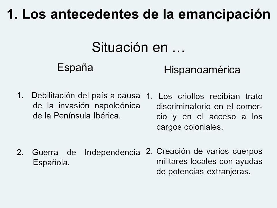 1. Los antecedentes de la emancipación Situación en …