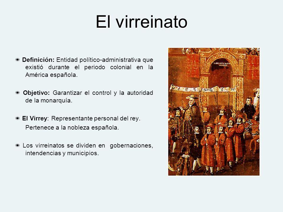 El virreinato Definición: Entidad político-administrativa que existió durante el periodo colonial en la América española.