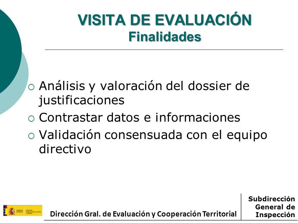 VISITA DE EVALUACIÓN Finalidades
