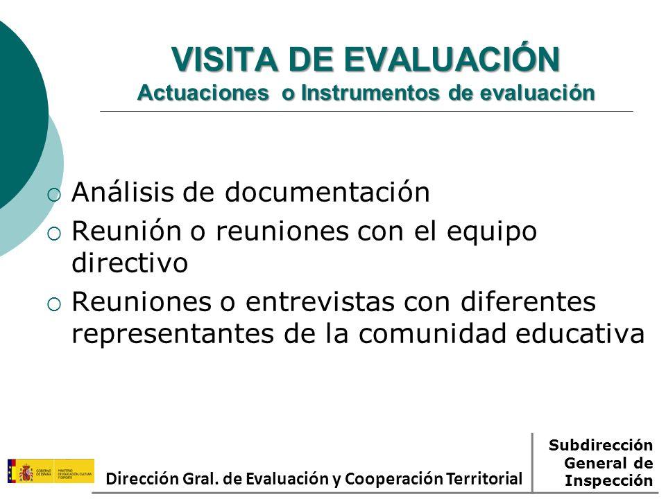 VISITA DE EVALUACIÓN Actuaciones o Instrumentos de evaluación