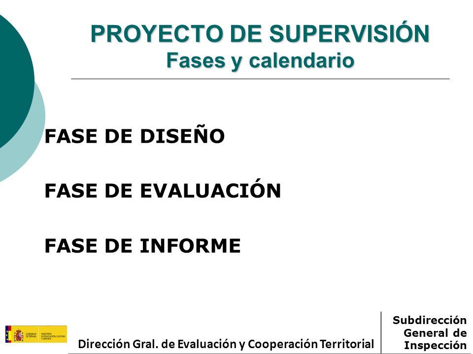 PROYECTO DE SUPERVISIÓN Fases y calendario