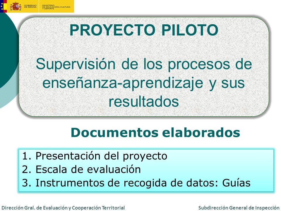PROYECTO PILOTO Supervisión de los procesos de enseñanza-aprendizaje y sus resultados