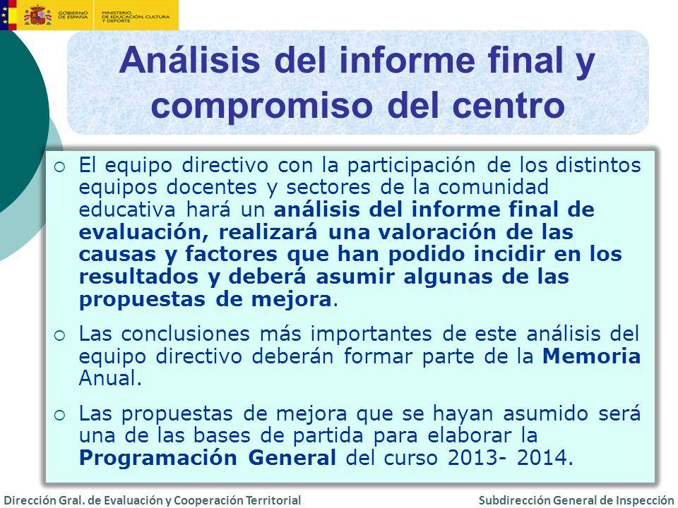 Análisis del informe final y compromiso del centro