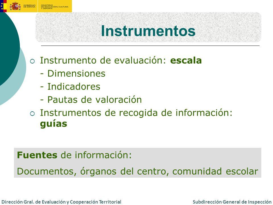 Instrumentos Instrumento de evaluación: escala - Dimensiones