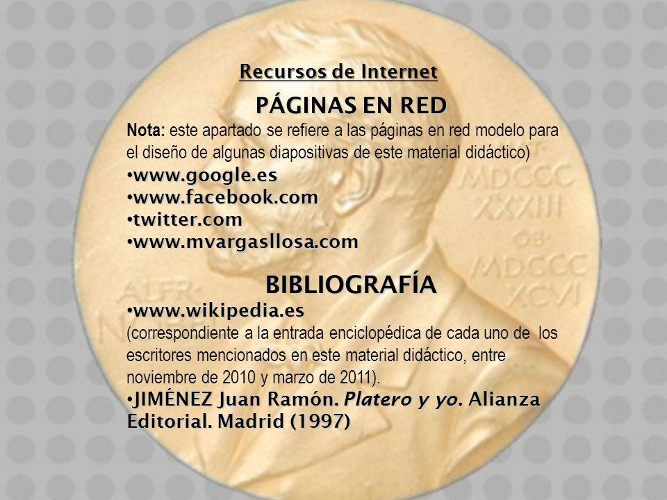 BIBLIOGRAFÍA PÁGINAS EN RED Recursos de Internet