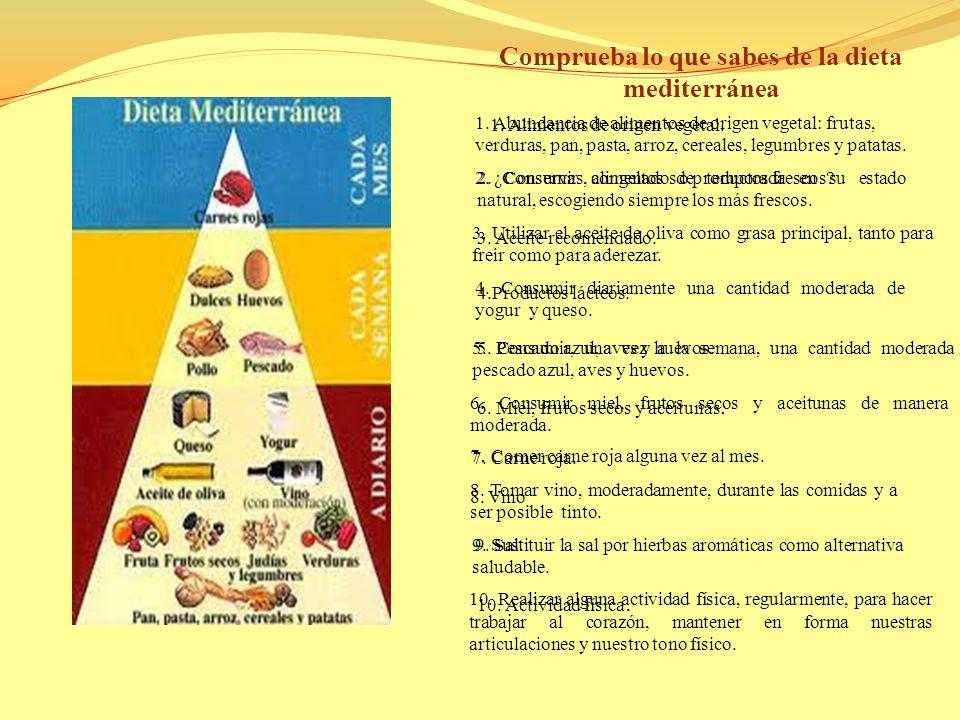 Comprueba lo que sabes de la dieta mediterránea