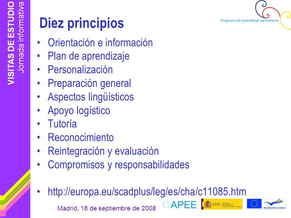 Diez principios Orientación e información Plan de aprendizaje