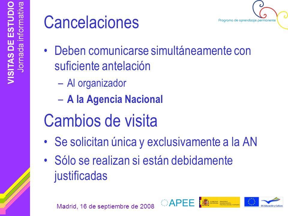 Cancelaciones Cambios de visita