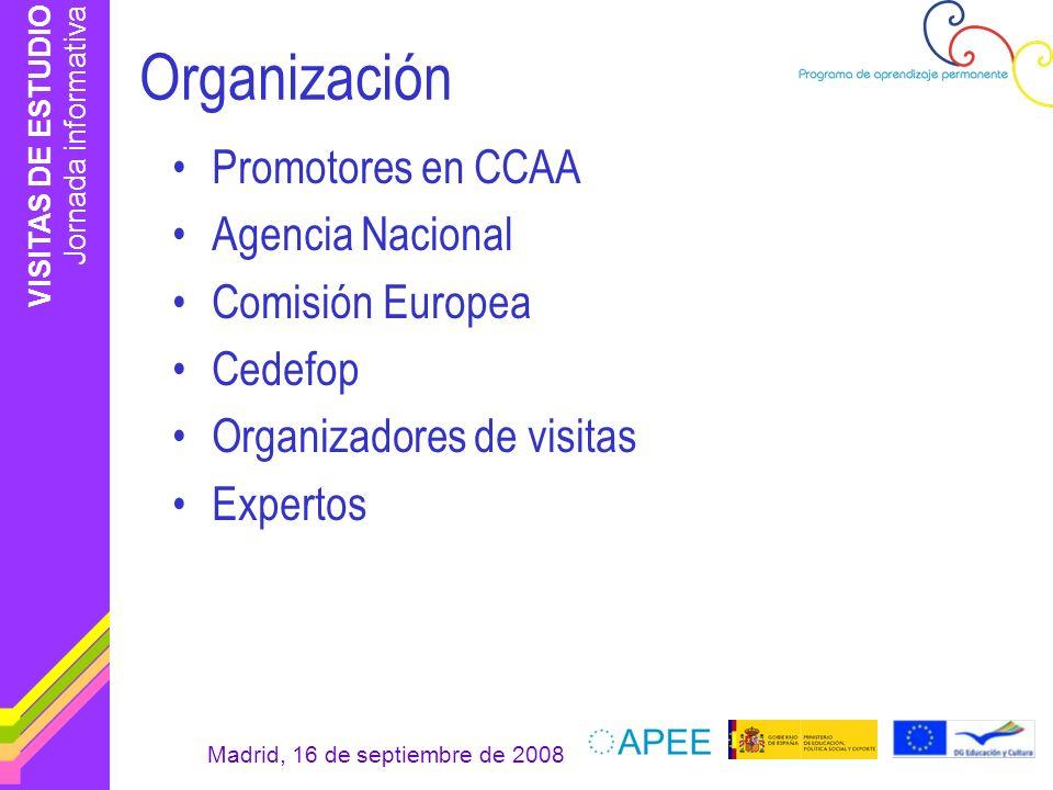 Organización Promotores en CCAA Agencia Nacional Comisión Europea