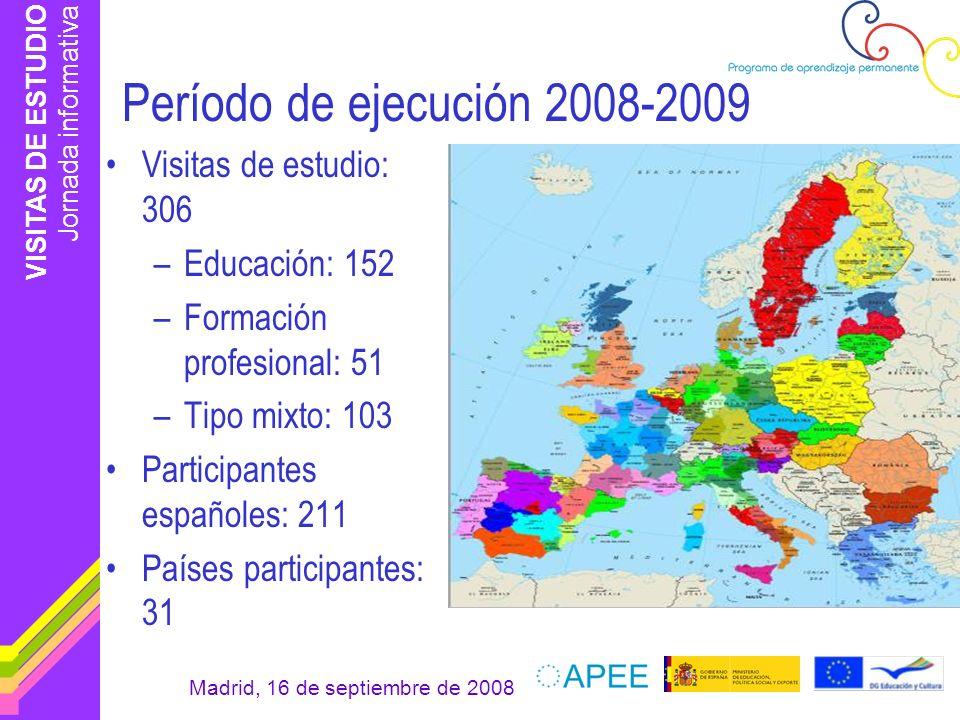 Período de ejecución 2008-2009 Visitas de estudio: 306 Educación: 152