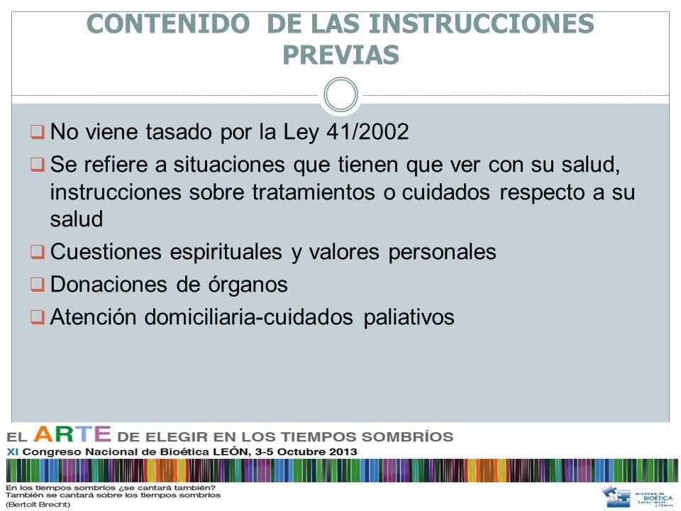 CONTENIDO DE LAS INSTRUCCIONES PREVIAS